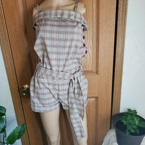 Katrice Cream Red & Tan plaid belted romper